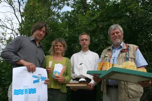 Reiner Hillebrandt, Susanne Siegl, Kai Wetzel und Knut Albrecht mit ihren Entwürfen